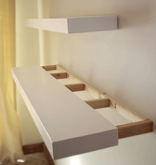 Blue prints for wooden wall shelf